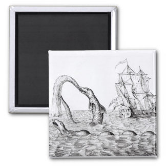 The Sea Serpent Square Magnet