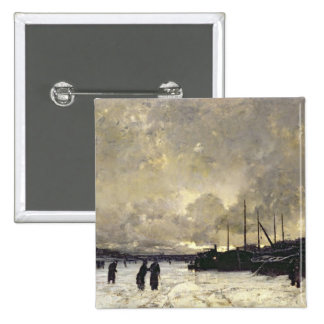 The Seine in December, 1879 15 Cm Square Badge