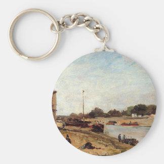 The Seine opposite the wharf de passy Paul Gauguin Basic Round Button Key Ring