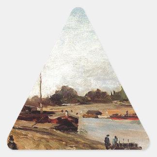 The Seine opposite the wharf de passy Paul Gauguin Triangle Sticker