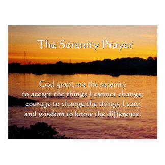 The Serenity Prayer orange sunset postcard