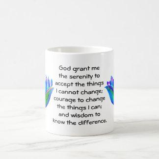 The Serenity Prayer with Colorful Lotus Blossom Basic White Mug