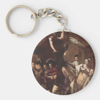 The Seven Works of Mercy by Caravaggio Basic Round Button Key Ring