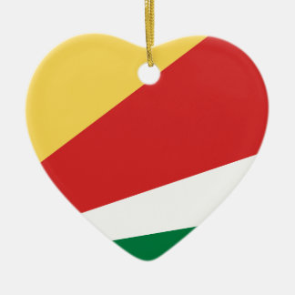 The Seychelles Flag Ceramic Heart Decoration