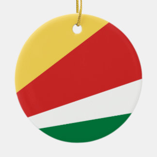 The Seychelles Flag Round Ceramic Decoration