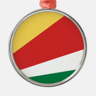 The Seychelles Flag Silver-Colored Round Decoration