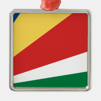 The Seychelles Flag Silver-Colored Square Decoration