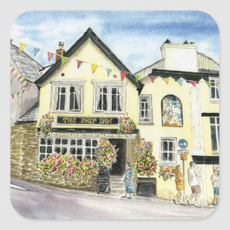 'The Ship Inn (Fowey)' Square Stickers