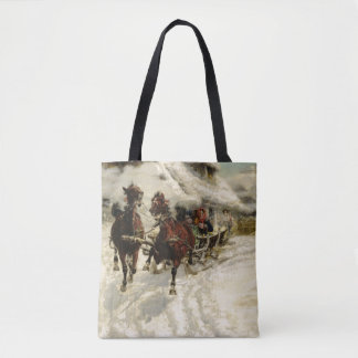 The Sleigh Ride, 1896 (oil on canvas) Tote Bag