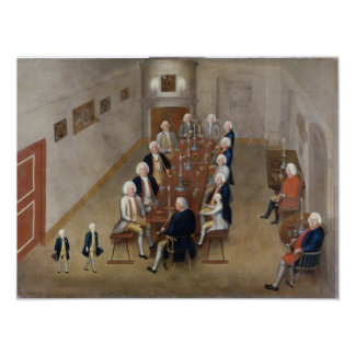 The smoking council of Frederick William I Poster