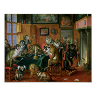 The Smoking Room with Monkeys Posters