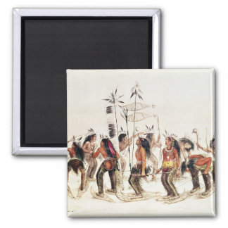 The Snow-Shoe Dance Square Magnet