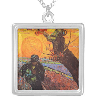 The Sower, Vincent Van Gogh Silver Plated Necklace