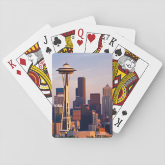 The Space Needle is a tower at dusk in Seattle Playing Cards