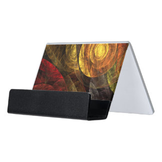 The Spiral of Life Abstract Art Desk Business Card Holder