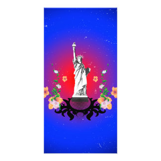 The statue of liberty customized photo card