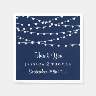 The String Lights On Navy Blue Wedding Collection Disposable Serviette