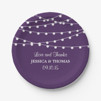 The String Lights On Purple Wedding Collection 7 Inch Paper Plate