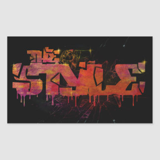 The style in colorful shattered glass rectangular sticker