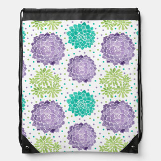 The Succulents Pattern Drawstring Bag