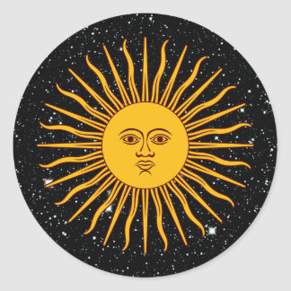 THE SUN OF MAY (Sol De Mayo) space theme ~ Classic Round Sticker