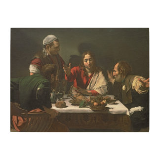The Supper at Emmaus, 1601 (oil and tempera) Wood Wall Art