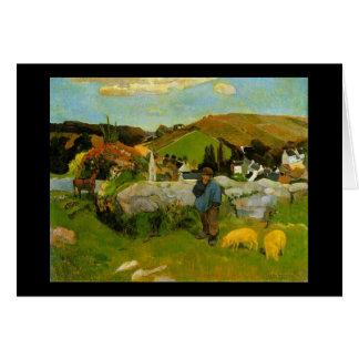 The Swineherd, Brittany by Paul Gauguin Card