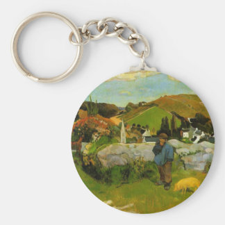 The Swineherd, Brittany by Paul Gauguin Basic Round Button Key Ring