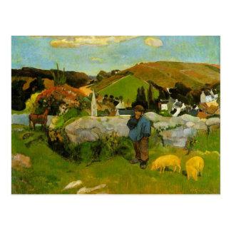 The Swineherd, Brittany by Paul Gauguin Postcard