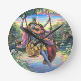The Swing Pastime - Radha and Krishna Round Clock