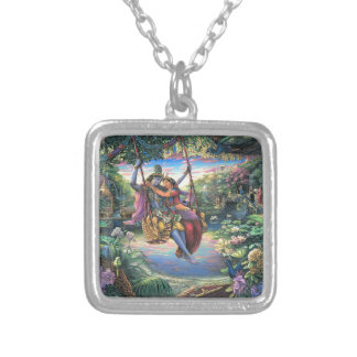 The Swing Pastime - Radha and Krishna Silver Plated Necklace