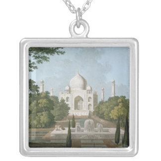 The Taj Mahal, Agra, from the Garden Silver Plated Necklace