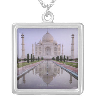 the Taj Mahal perfectly reflected in the pool in Silver Plated Necklace