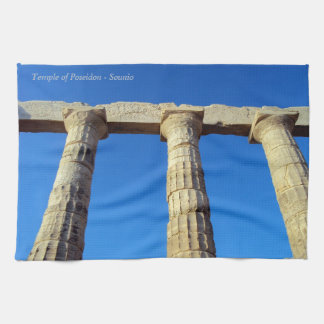 The temple of Poseidon in Sounio Tea Towel