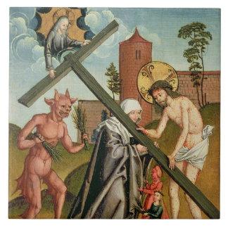 The Temptation of a Saint Large Square Tile