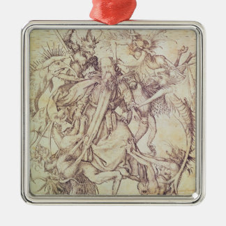 The Temptation of St. Anthony (engraving) Silver-Colored Square Decoration