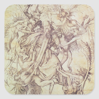 The Temptation of St. Anthony (engraving) Square Sticker