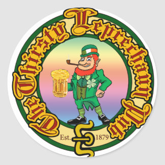 The Thirsty Leprechaun Pub Classic Round Sticker