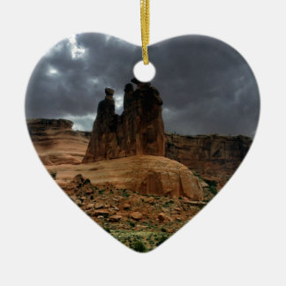 The Three Gossips Arches National Park Ceramic Heart Decoration