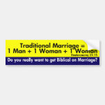 The Traditional Marriage Equation Bumper Sticker