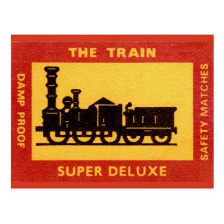 The Train Vintage Match Label Postcard