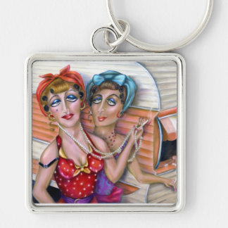 The Trixie Sisters,keychain,by Alma Lee Silver-Colored Square Key Ring