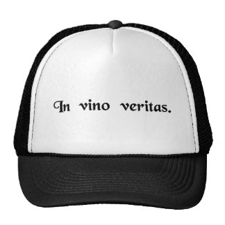 The truth is in wine. mesh hats