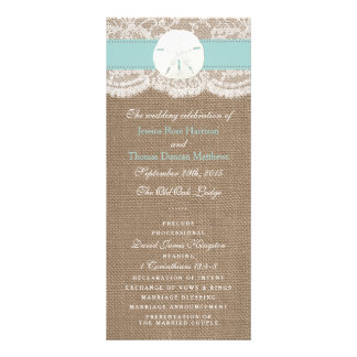 The Turquoise Sand Dollar Wedding Collection Rack Card Template