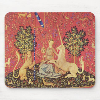 The Unicorn and Maiden Medieval Tapestry Image Mouse Pad