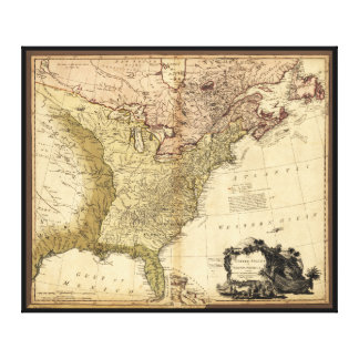 The United States of North America Map (1784) Stretched Canvas Print