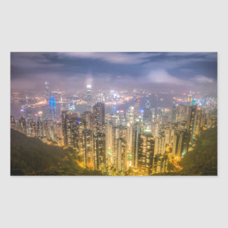 The view of Hong Kong from The Peak Rectangular Sticker