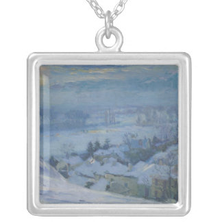 The Village of Herblay under snow, 1895 Silver Plated Necklace