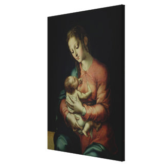 The Virgin and Child (oil on panel) Canvas Print