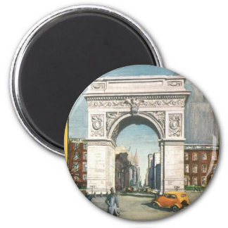 The Washington Arch. New York. Vintage Painting. 6 Cm Round Magnet